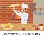 the cook prepares pizza by... | Shutterstock .eps vector #1135148057