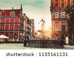neptune statue and fountain and ... | Shutterstock . vector #1135161131