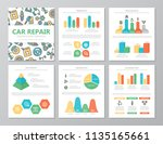 set of colored car service and... | Shutterstock .eps vector #1135165661