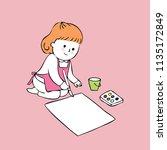 cartoon cute little artist girl ...   Shutterstock .eps vector #1135172849