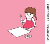 cartoon cute little artist girl ...   Shutterstock .eps vector #1135172855