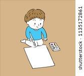cartoon cute little artist boy...   Shutterstock .eps vector #1135172861