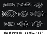 set of vector stylized fishes.... | Shutterstock .eps vector #1135174517