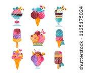 flat vector set of ice cream... | Shutterstock .eps vector #1135175024