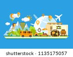 travel around the world ... | Shutterstock .eps vector #1135175057
