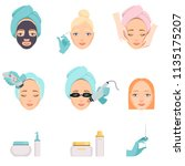 types of procedures for facial... | Shutterstock .eps vector #1135175207