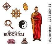 symbols of buddhism monk ... | Shutterstock .eps vector #1135180481