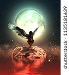 3d illustration of an angel in...   Shutterstock . vector #1135181639