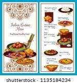 menu of healthy indian cuisine... | Shutterstock .eps vector #1135184234