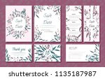 wedding card templates set with ... | Shutterstock .eps vector #1135187987