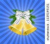 fir brances and golden... | Shutterstock .eps vector #1135195151