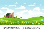 rural scene with the farm and... | Shutterstock .eps vector #1135208147