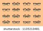cartoon female eyes. colored... | Shutterstock .eps vector #1135213481