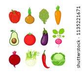 set of different vegetables in... | Shutterstock .eps vector #1135221671