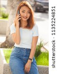 summer portrait of beautiful... | Shutterstock . vector #1135224851