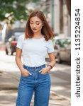 summer portrait of beautiful... | Shutterstock . vector #1135224854