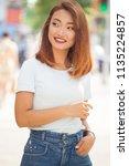 summer portrait of beautiful... | Shutterstock . vector #1135224857