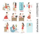 woman daily routine. waking up  ... | Shutterstock .eps vector #1135225841