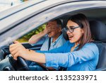 woman driver   car accident ... | Shutterstock . vector #1135233971