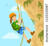 girl rappels down the mountain... | Shutterstock . vector #1135235087