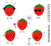 a set of five strawberry smiley ... | Shutterstock .eps vector #1135237451
