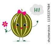 cute watermelon cartoon... | Shutterstock .eps vector #1135237484