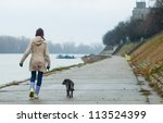Stock photo teenage girl walking the dog on cloudy autumn day 113524399