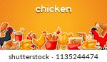 fast food fried chicken meat.... | Shutterstock .eps vector #1135244474