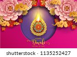 happy diwali festival card with ... | Shutterstock .eps vector #1135252427