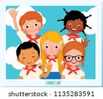 group of happy children in a... | Shutterstock . vector #1135283591
