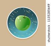 green apple in cosmos. vector...   Shutterstock .eps vector #1135285649