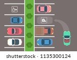 city car parking top view. the... | Shutterstock .eps vector #1135300124