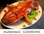 delicious  golden roasted bbq... | Shutterstock . vector #1135301441