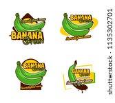 a set banana logo badge   Shutterstock .eps vector #1135302701
