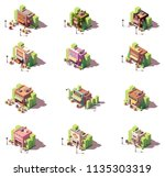 vector isometric shops and... | Shutterstock .eps vector #1135303319