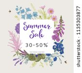 summer sale. vector floral... | Shutterstock .eps vector #1135303877