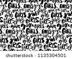 handwritten repeated word girls....   Shutterstock .eps vector #1135304501