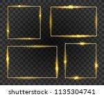glow frames. golden shiny frame ... | Shutterstock .eps vector #1135304741