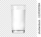 realistic glass cup with milk.... | Shutterstock .eps vector #1135305584
