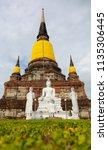 wat yai chai mongkhol in... | Shutterstock . vector #1135306445