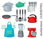 flat vector set of kitchenware  ... | Shutterstock .eps vector #1135307501