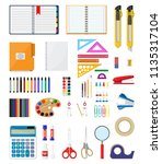 stationery set icons. book ... | Shutterstock .eps vector #1135317104