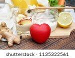heart and healthy food  kefir... | Shutterstock . vector #1135322561