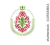 lily flower royal emblem.... | Shutterstock .eps vector #1135333811