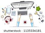 work desk workspace top view... | Shutterstock .eps vector #1135336181