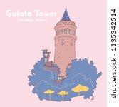 galata tower view. hand drawn... | Shutterstock .eps vector #1135342514