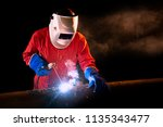 industrial worker at the... | Shutterstock . vector #1135343477