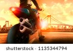 extreme action of man riding on ... | Shutterstock . vector #1135344794