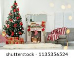stylish living room interior... | Shutterstock . vector #1135356524