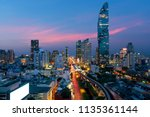 bangkok transportation at dusk... | Shutterstock . vector #1135361144